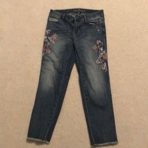 White House Black market crop embroidered jeans